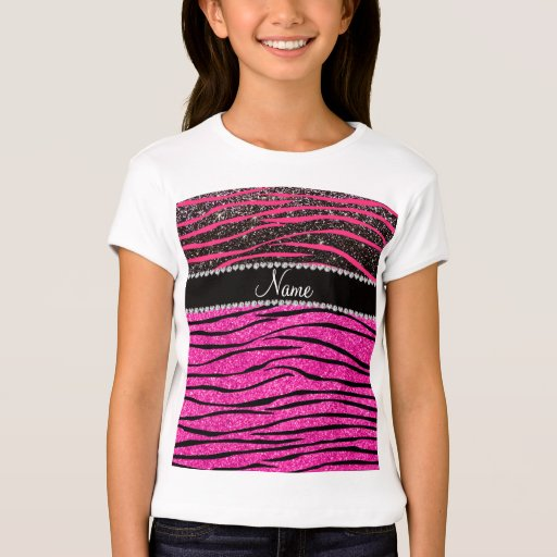 Custom name neon hot pink and black zebra stripes t shirt for Neon custom t shirts