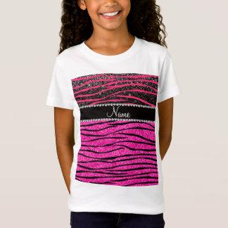 Custom name neon hot pink and black zebra stripes T-Shirt