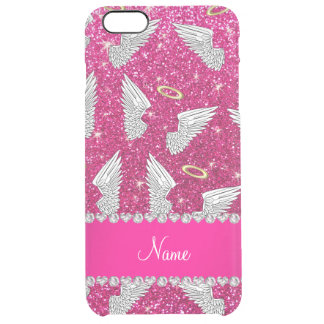 Custom name neon hot pink glitter angel wings uncommon clearly™ deflector iPhone 6 plus case