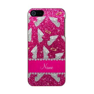 Custom name neon hot pink glitter angel wings incipio feather® shine iPhone 5 case