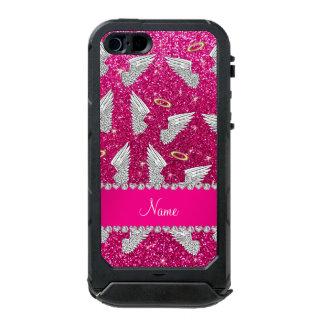 Custom name neon hot pink glitter angel wings incipio ATLAS ID™ iPhone 5 case
