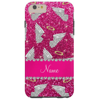 Custom name neon hot pink glitter angel wings tough iPhone 6 plus case