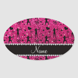 Custom name neon hot pink glitter archery oval sticker
