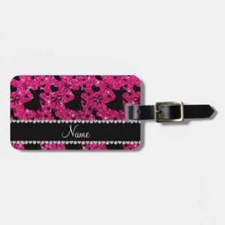 Custom name neon hot pink glitter ballroom dancing bag tag