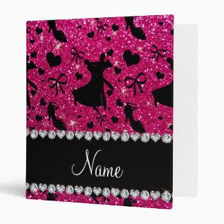 Custom name neon hot pink glitter ballroom dancing binders