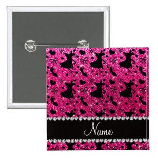Custom name neon hot pink glitter ballroom dancing pinback button