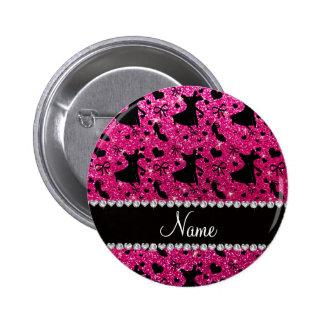 Custom name neon hot pink glitter ballroom dancing pins