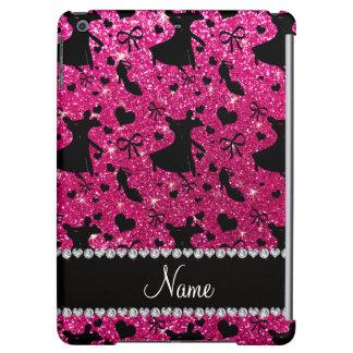 Custom name neon hot pink glitter ballroom dancing iPad air covers