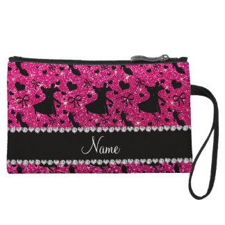 Custom name neon hot pink glitter ballroom dancing wristlets