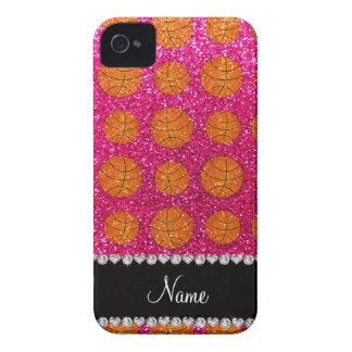 Custom name neon hot pink glitter basketballs iPhone 4 covers