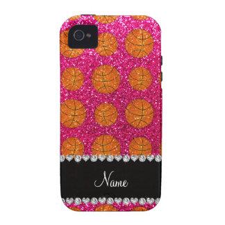 Custom name neon hot pink glitter basketballs Case-Mate iPhone 4 covers