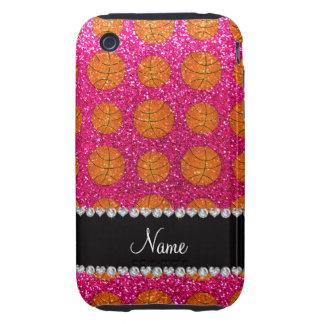 Custom name neon hot pink glitter basketballs iPhone 3 tough covers