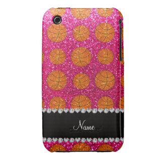 Custom name neon hot pink glitter basketballs iPhone 3 cases