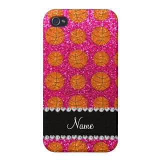 Custom name neon hot pink glitter basketballs iPhone 4/4S covers