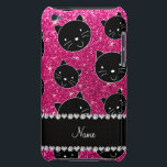 "Custom name neon hot pink glitter black cat faces barely there iPod case<br><div class=""desc"">Modern and trendy animal cats neon hot pink glitter (faux not real glitter) pattern with black cat heads faces and beautiful black diamonds (not real diamonds) with pretty hearts and dots stripe personalized with your name gifts or monogram gifts or your initials. Girly glitter gift ideas for pet lovers and...</div>"
