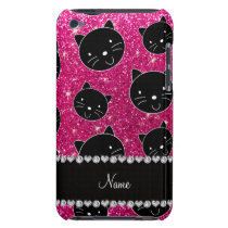 Custom name neon hot pink glitter black cat faces barely there iPod case