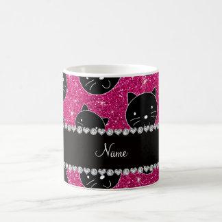 Custom name neon hot pink glitter black cat faces classic white coffee mug