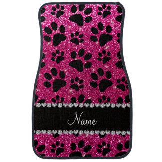 Custom name neon hot pink glitter black dog paws car floor mat