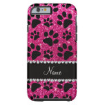 Custom name neon hot pink glitter black dog paws tough iPhone 6 case