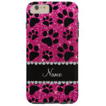 Custom name neon hot pink glitter black dog paws iPhone 6 plus case