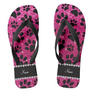 Custom name neon hot pink glitter black dog paws flip flops