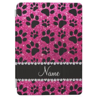 Custom name neon hot pink glitter black dog paws iPad air cover