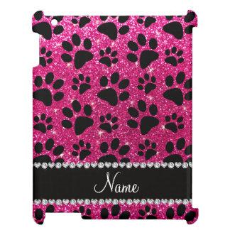 Custom name neon hot pink glitter black dog paws iPad case
