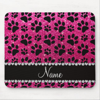 Custom name neon hot pink glitter black dog paws mouse pad