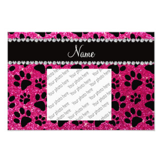 Custom name neon hot pink glitter black dog paws photo print