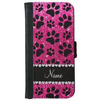 Custom name neon hot pink glitter black dog paws iPhone 6 wallet case