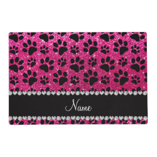Custom name neon hot pink glitter black dog paws placemat