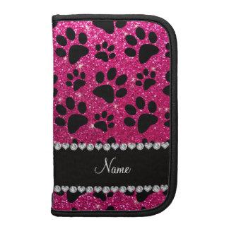 Custom name neon hot pink glitter black dog paws planner