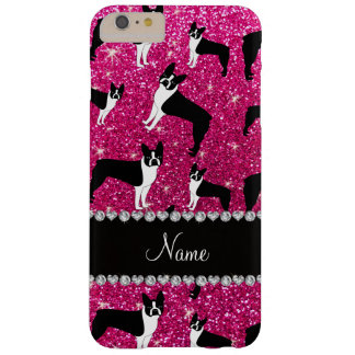 Custom name neon hot pink glitter boston terrier barely there iPhone 6 plus case