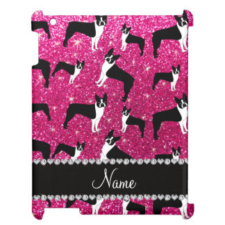 Custom name neon hot pink glitter boston terrier cover for the iPad