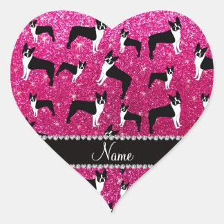 Custom name neon hot pink glitter boston terrier heart sticker