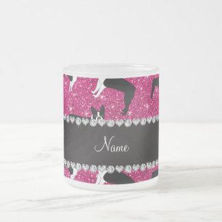 Custom name neon hot pink glitter boston terrier 10 oz frosted glass coffee mug