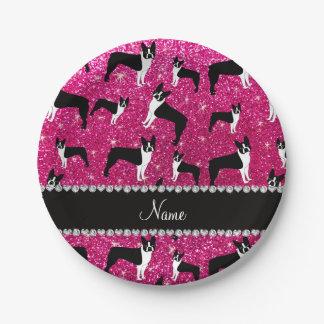 Custom name neon hot pink glitter boston terrier paper plate