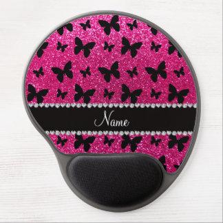 Custom name neon hot pink glitter butterflies gel mouse pad