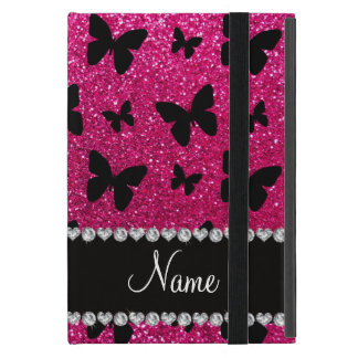 Custom name neon hot pink glitter butterflies iPad mini covers