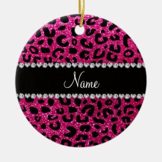 Custom name neon hot pink glitter cheetah print Double-Sided ceramic round christmas ornament