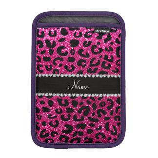 Custom name neon hot pink glitter cheetah print iPad mini sleeves