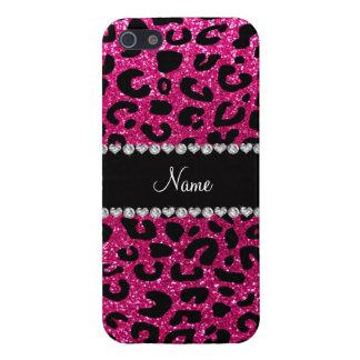 Custom name neon hot pink glitter cheetah print iPhone 5/5S case