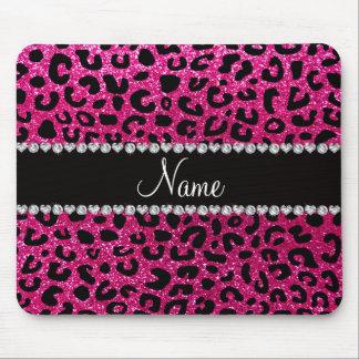 Custom name neon hot pink glitter cheetah print mouse pad