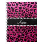 Custom name neon hot pink glitter cheetah print spiral note books