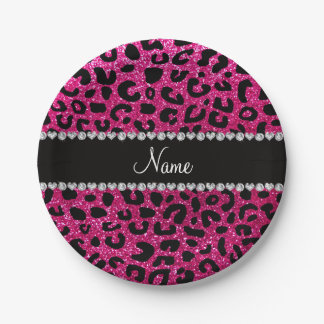 Custom name neon hot pink glitter cheetah print paper plate
