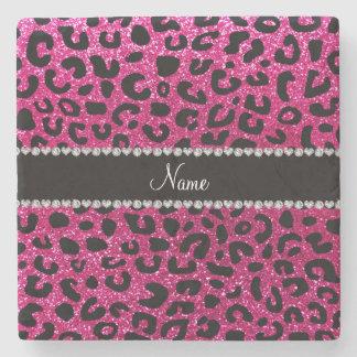 Custom name neon hot pink glitter cheetah print stone coaster