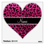 Custom name neon hot pink glitter cheetah print wall skin
