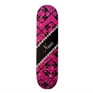 Custom name neon hot pink glitter diamond swirls skate board deck