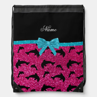 Custom name neon hot pink glitter dolphins bow drawstring bags