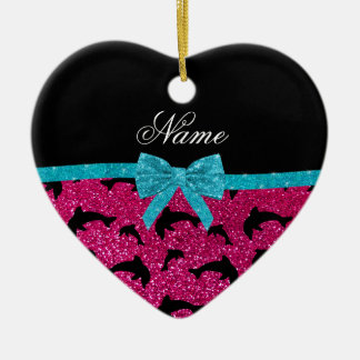 Custom name neon hot pink glitter dolphins bow ornaments